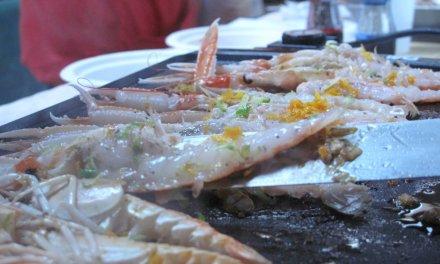 Plancha, langoustines,crevettes, agrumes.