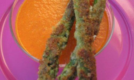 Asperges vertes panées au parmesan