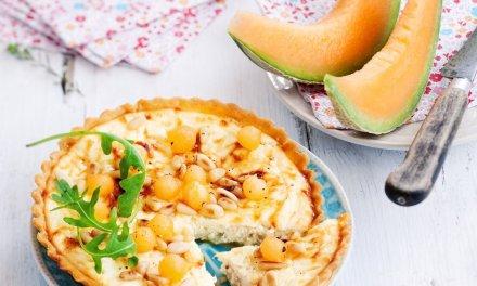 Tarte ricotta / billes de melon pour l'apéro.