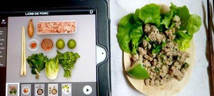 Appli «Mon cours de cuisine» sur Ipad.