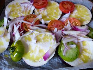 Légumes de saison cuits au four.