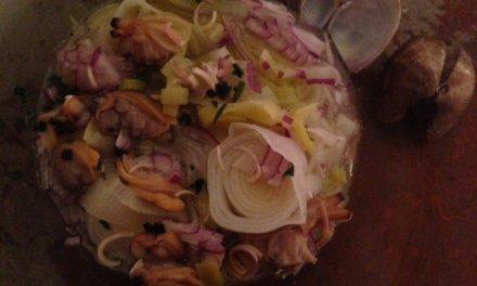 Salade de palourdes. Recette de coquillages.