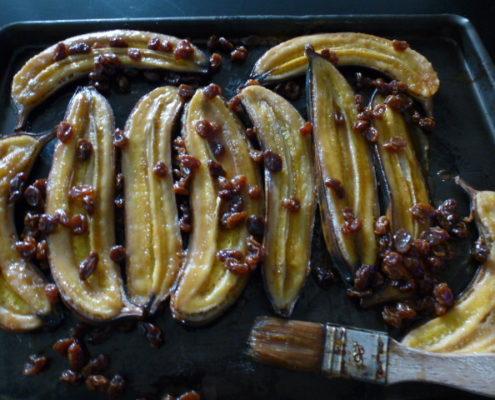 bananes cuisiné au rhum et au caramel au beurre salé