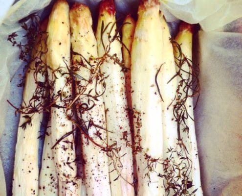 asperges blanches cuites en papillote