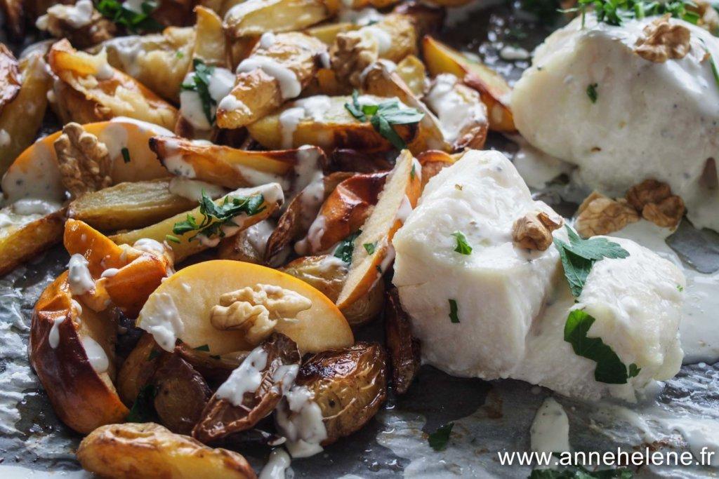 poisson au four avec des pommes de terre des pommes et de la crème Saint Agur