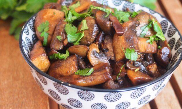 Champignons sauce soja et vinaigre balsamique.