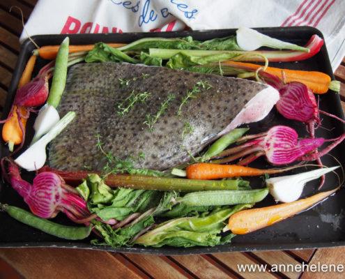 recette de raie four et ses légumes