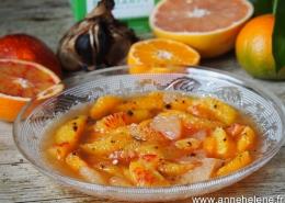 recette salade de fruits agrumes ail noir